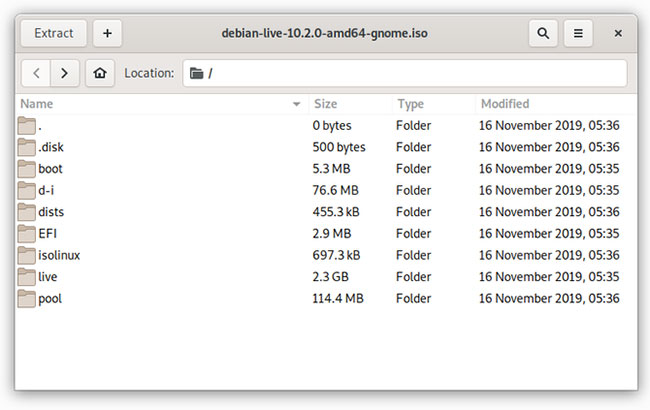 Trích xuất ISO bằng GNOME Archive Manager