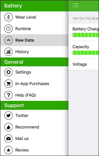 nhấn chọn Raw Data để tìm hiểu thêm chi tiết các thông tin về pin