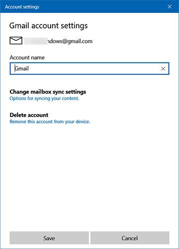 Nhấp vào tùy chọn Change mailbox sync settings