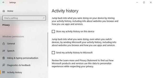 Tắt tính năng theo dõi hoạt động trong Timeline Windows 10