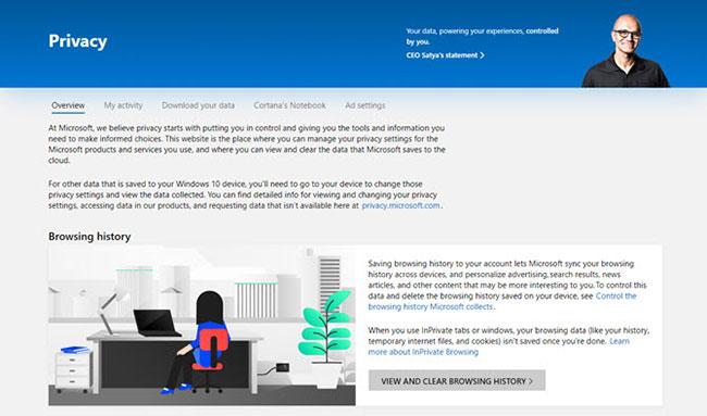 Các danh mục lưu lịch sử hoạt động của Windows 10