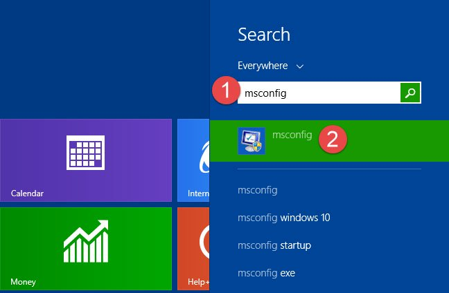 Mở System Configuration trong Windows 8