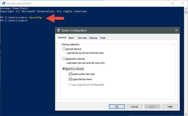 Mở System Configuration bằng Command Prompt hoặc PowerShell