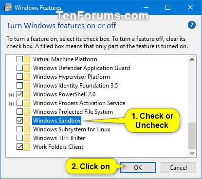Chọn (bật) hoặc bỏ chọn (tắt - mặc định) Windows Sandbox