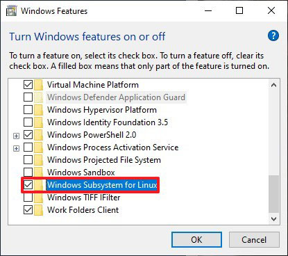 Tích vào tùy chọn Windows Subsystem for Linux