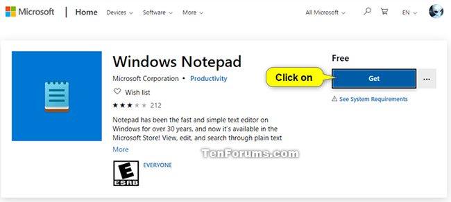 Nhấp vào Get để cài đặt Notepad
