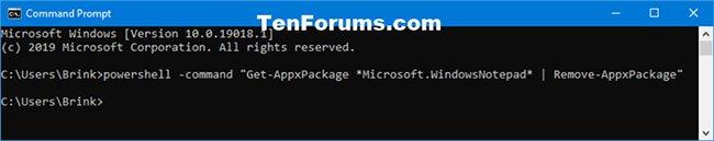 Gỡ cài đặt Notepad trong Command Prompt