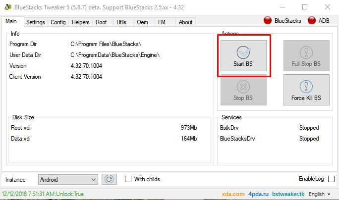Thủ thuật root BlueStack 4 bằng công cụ BS Tweaker 5
