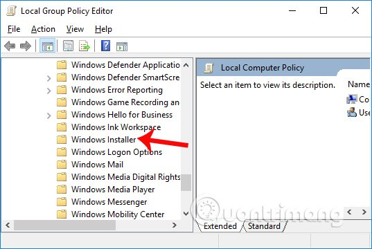 Giao diện Local Group Policy Editor