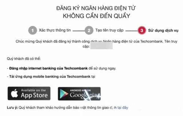 Cách đăng ký internet banking Techcombank online qua website