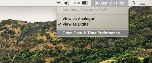 Nhấp vào tùy chọn Open Date & Time Preferences