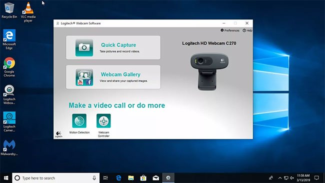 Sau khi kết nối, hãy duyệt đến phần mềm webcam