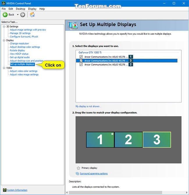 Nhấp vào liên kết Set up multiple displays