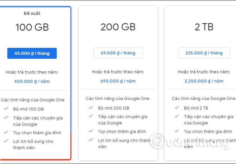 bộ nhớ Google Drive