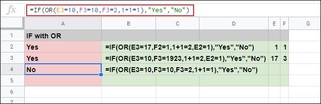 Hai công thức IF với OR trong các ô A2 và A3 đã trả về giá trị văn bản IF TRUE (Yes)