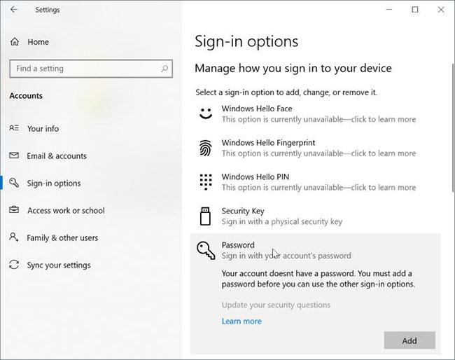 Chọn nút Add để mở hộp thoại Create a password