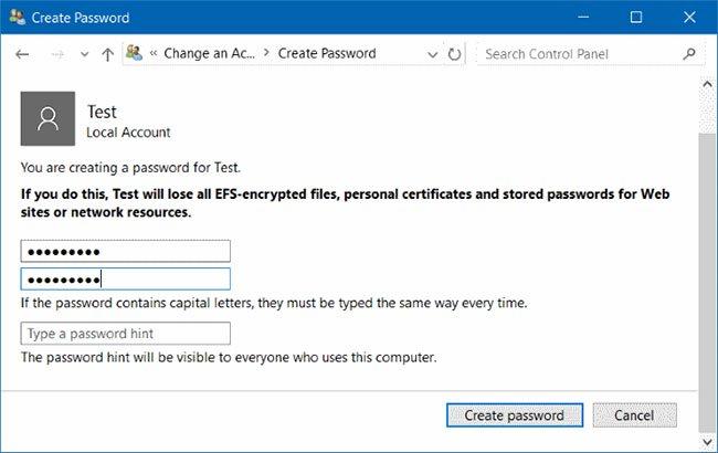 Bấm Create a password