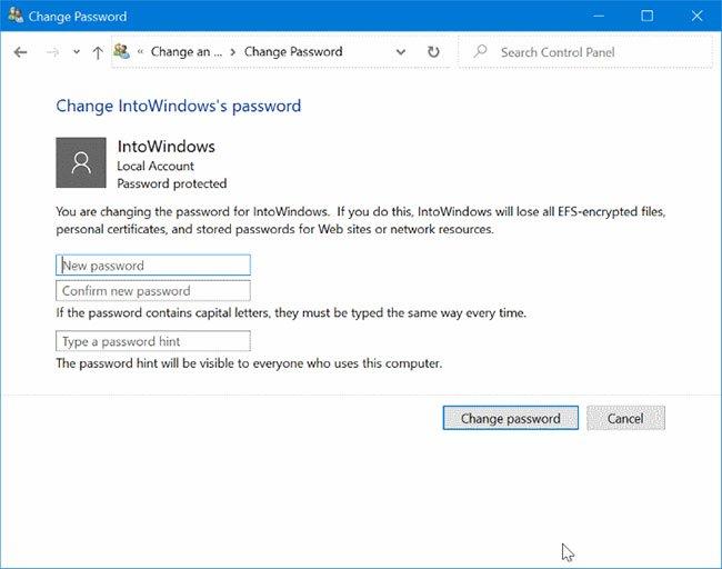 Nhập mật khẩu mới, nhập lại mật khẩu, nhập gợi ý mật khẩu