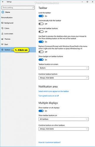 Chỉ định cách nhóm các nút trên Taskbar trong Windows 10