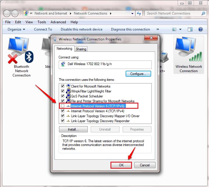 bỏ tích tùy chọn Internet Protocol Version 6 (TCP/Ipv6)