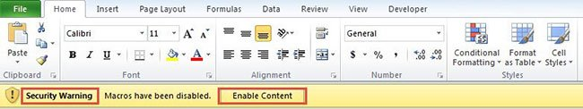 Nút Enable Content trong Security Warning