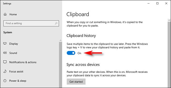 Bật tùy chọn Clipboard History