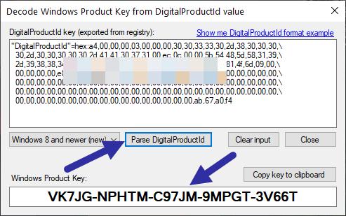 Ứng dụng sẽ giải mã code HEX và hiển thị product key