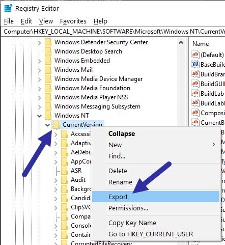Nhấp chuột phải vào thư mục CurrentVersion và chọn Export