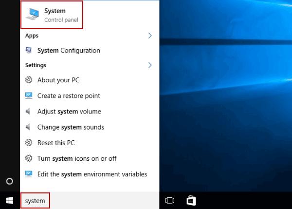 Nhập system vào hộp tìm kiếm trên thanh tác vụ