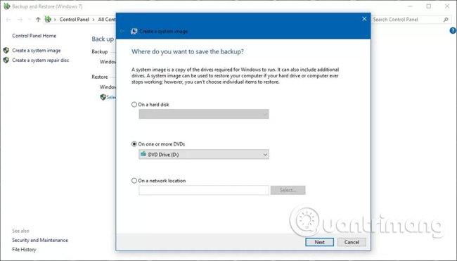 Tiện ích sao lưu toàn bộ trên Windows 10.