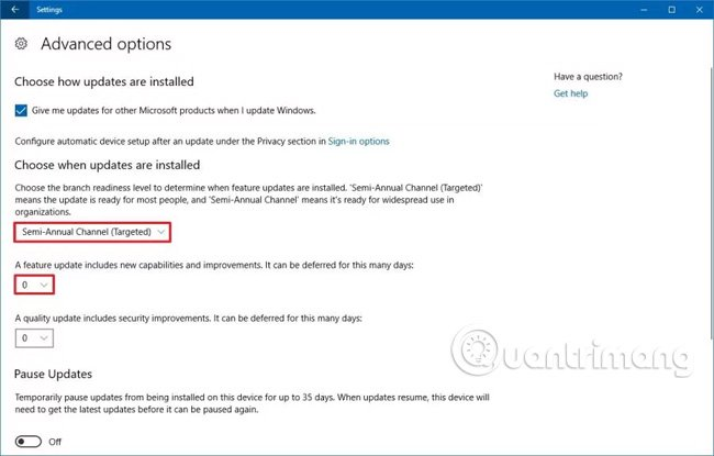 Windows 10 cập nhật cài đặt nâng cao.
