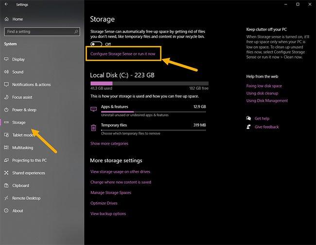 Nhấp vào liên kết Configure Storage Sense or run it now