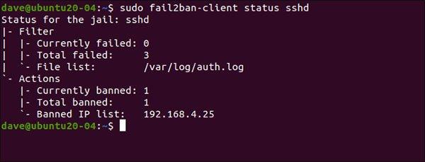 Có ba kết nối thất bại, và một địa chỉ IP (192.168.4.25) bị cấm
