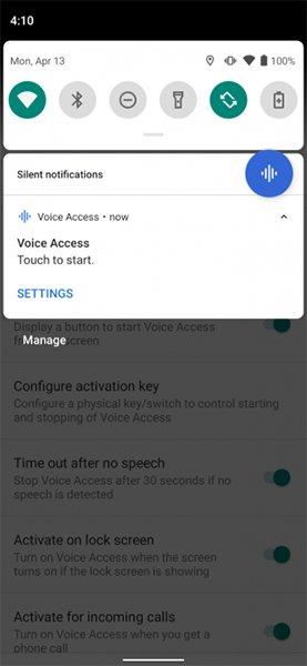 Truy cập Voice Access từ thanh trạng thái