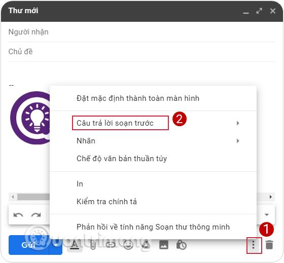Mở menu Tùy chọn khác trên cửa sổ soạn mail và chọn Câu trả lời soạn sẵn