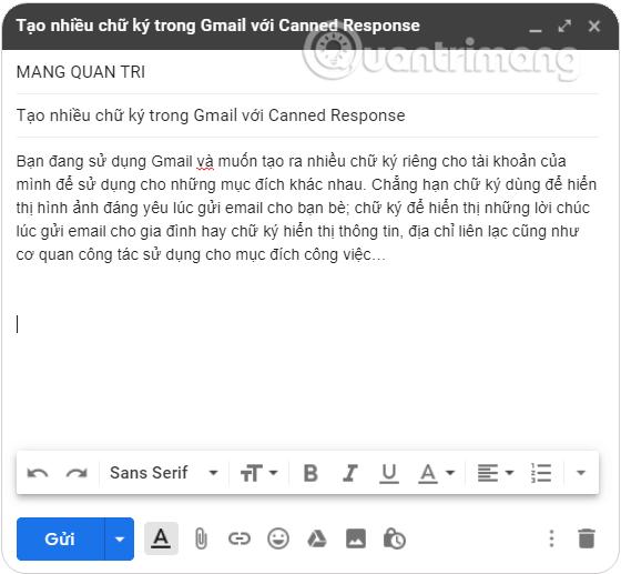 Soạn mail bạn muốn sử dụng các chữ ký