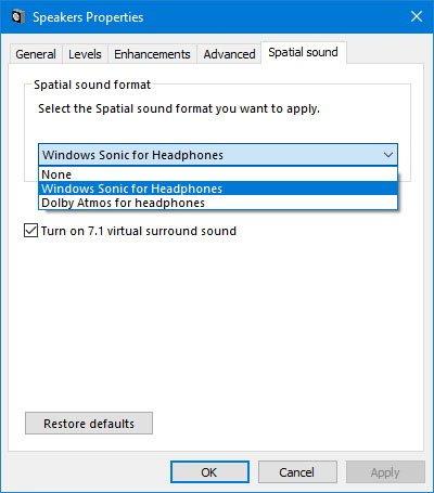 Chọn tùy chọn Windows Sonic for Headphones