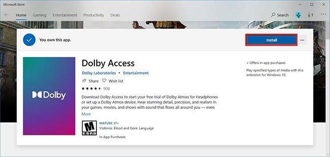 Nhấp vào nút Install để cài đặt ứng dụng Dolby Access trên Windows 10
