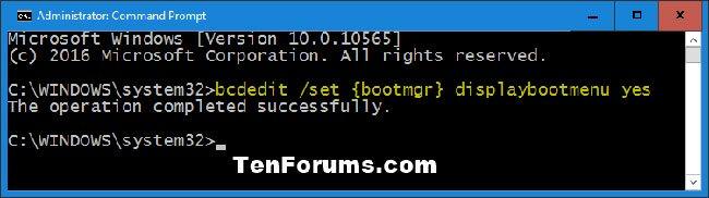 Kích hoạt màn hình F8 Advanced Boot Options trong Windows 10