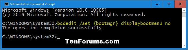 Vô hiệu hóa màn hình F8 Advanced Boot Options trong Windows 10