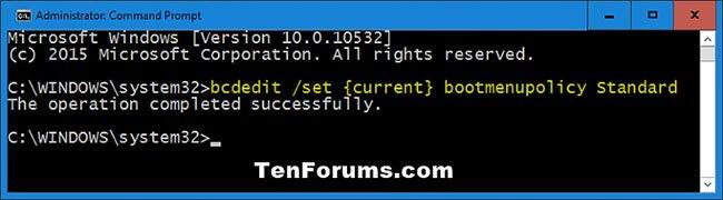 Lệnh vô hiệu hóa màn hình F8 Advanced Boot Options