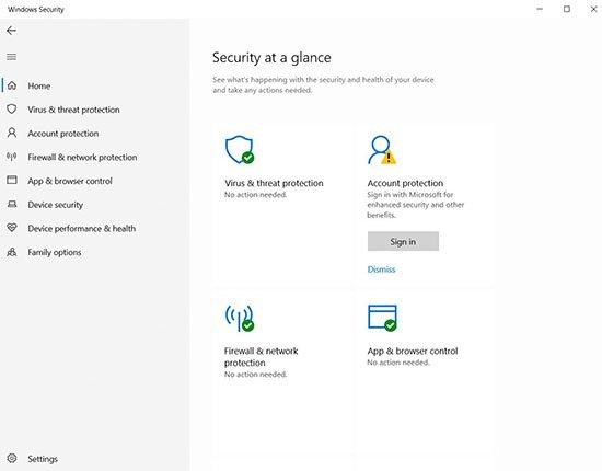 Windows Defender tích hợp trong Windows Security