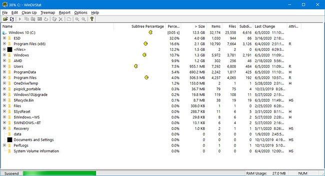 WinDirStat sẽ quét ổ đĩa và hiển thị một báo cáo đồ họa
