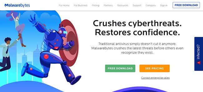 Malwarebytes có bản dùng thử miễn phí, nhưng khá hạn chế