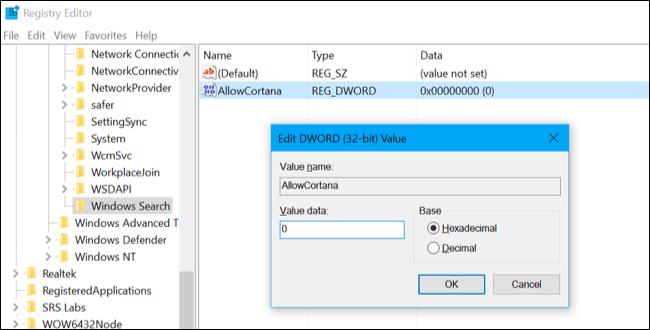 thiết lập giá trị trong khung Value Data là 0