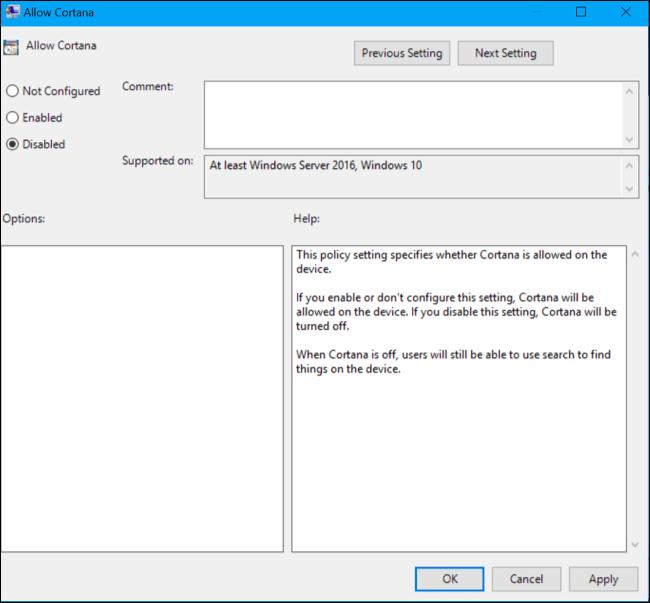 Thiết lập tùy chọn Allow Cortana là Disabled