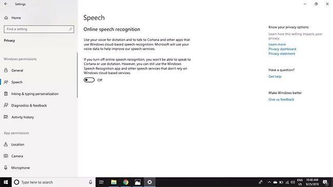 Vô hiệu hóa Online Speech Recognition