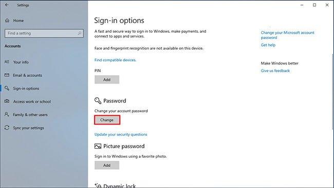 Trong phần Password, hãy nhấp vào nút Change