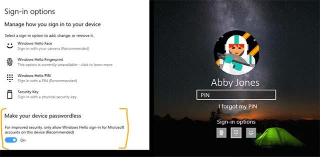 Bạn có thể tắt đăng nhập bằng mật khẩu và chuyển sang sử dụng phương thức xác thực Windows Hello