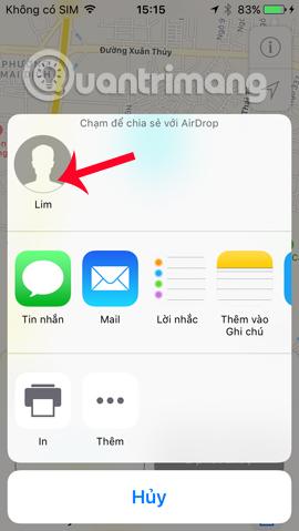 Chia sẻ bản đồ cho thiết bị iOS